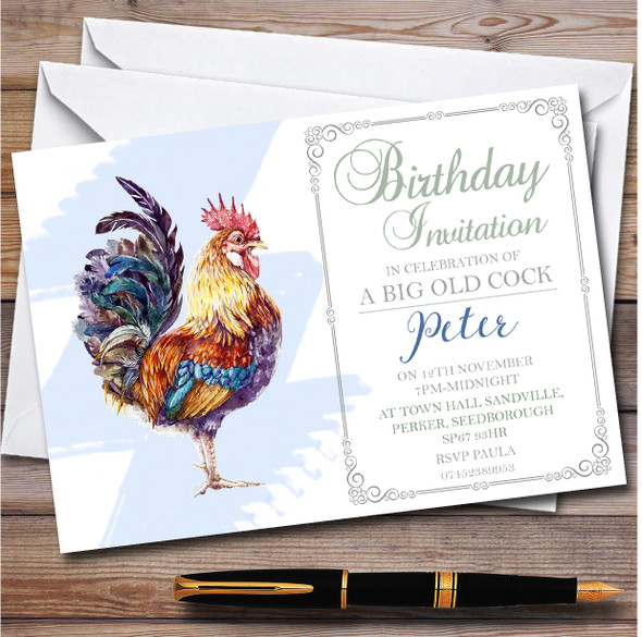 Humour Big Old Cock Personalised Birthday Party Invitations