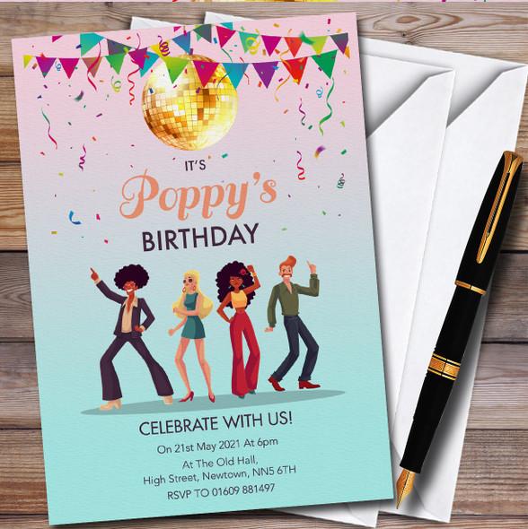 Retro Disco Dancers Personalised Birthday Party Invitations