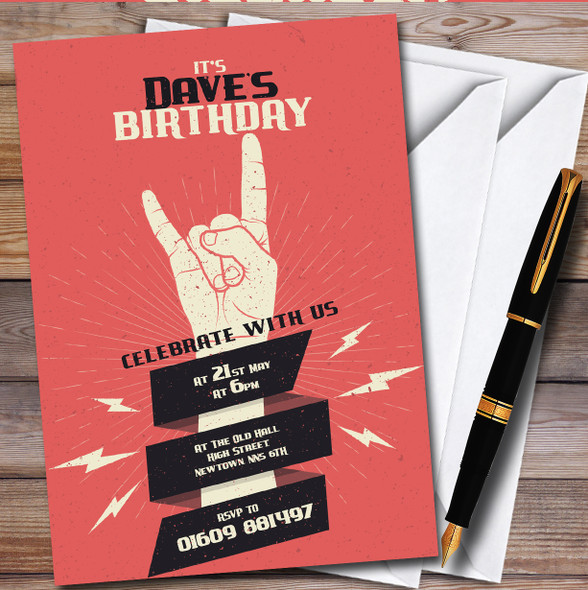 Rock Fist Music Red Personalised Birthday Party Invitations