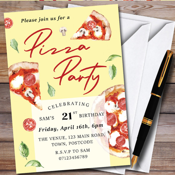 Pizza Party Yellow Personalised Birthday Party Invitations
