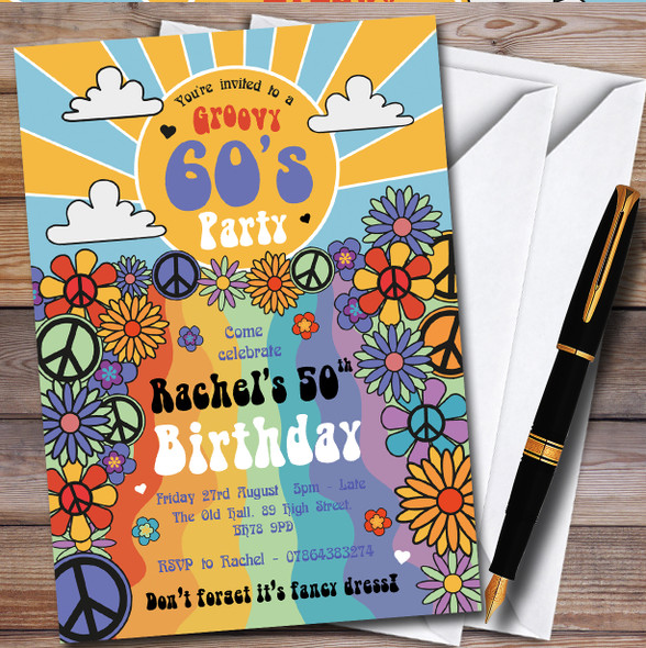 Hippie Groovy 60'S Personalised Birthday Party Invitations