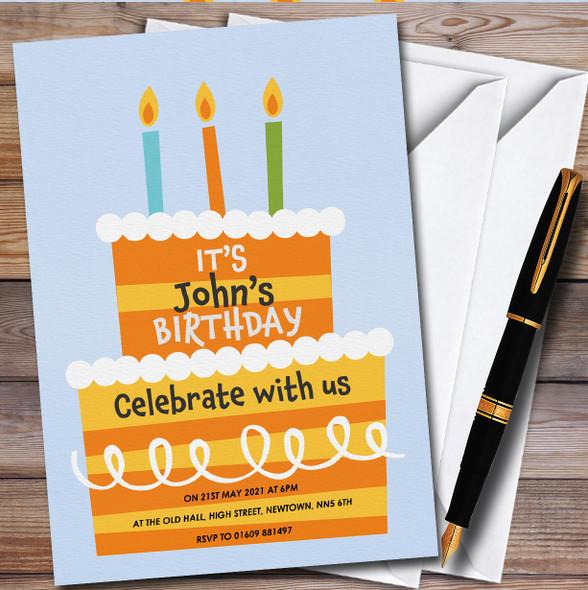 Orange Stripy Cake Personalised Birthday Party Invitations