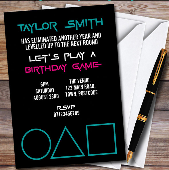 Squid Game Simple Personalised Birthday Party Invitations