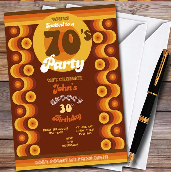 70'S Retro 1970'S Personalised Birthday Party Invitations