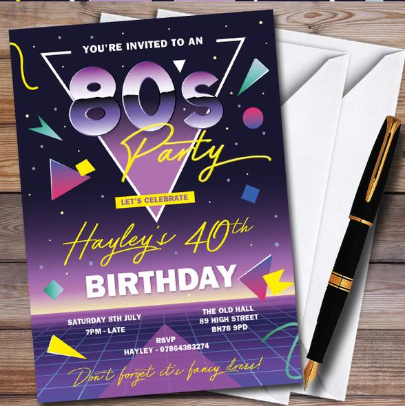 80'S Retro 1980'S Personalised Birthday Party Invitations