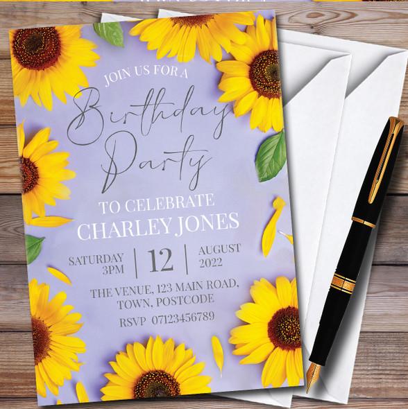 Sunflower Purple Personalised Birthday Party Invitations