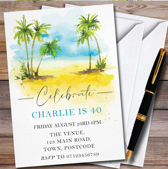 Beach Palm Trees Personalised Birthday Party Invitations