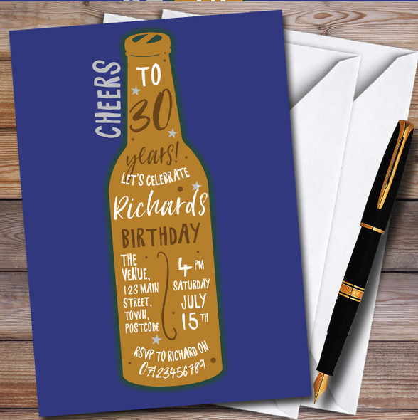 Beer Bottle Blue Personalised Birthday Party Invitations