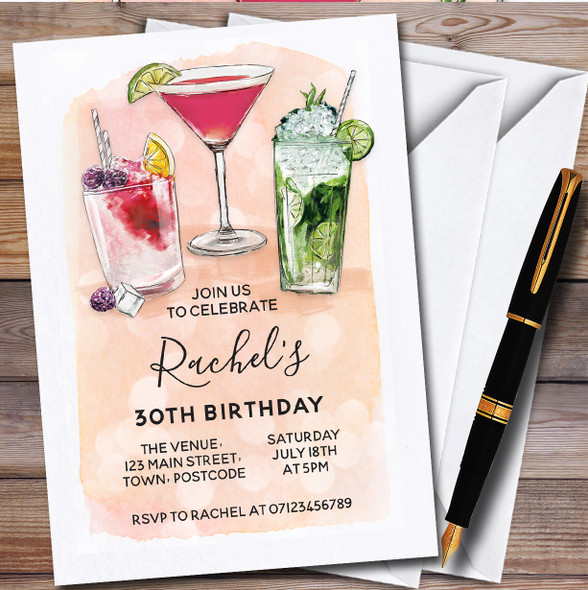 Cocktails Peach Personalised Birthday Party Invitations