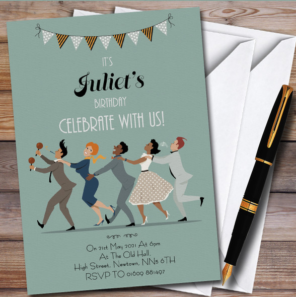 Adults Dancing Personalised Birthday Party Invitations