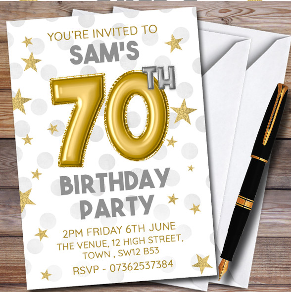 Gold Balloons & Stars 70Th Personalised Birthday Party Invitations