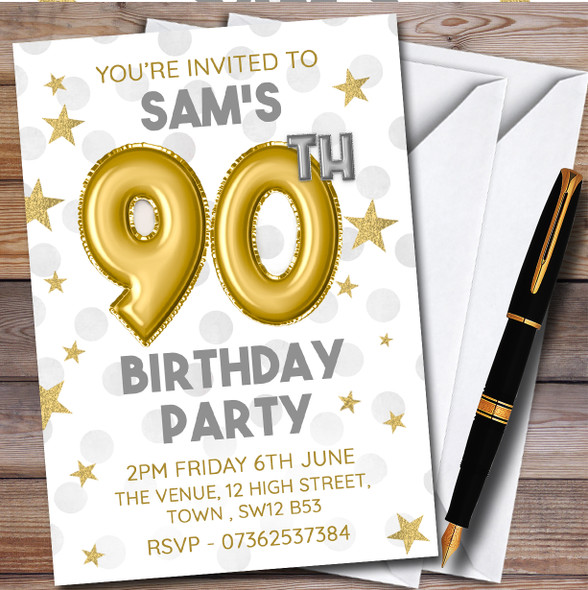 Gold Balloons & Stars 90Th Personalised Birthday Party Invitations