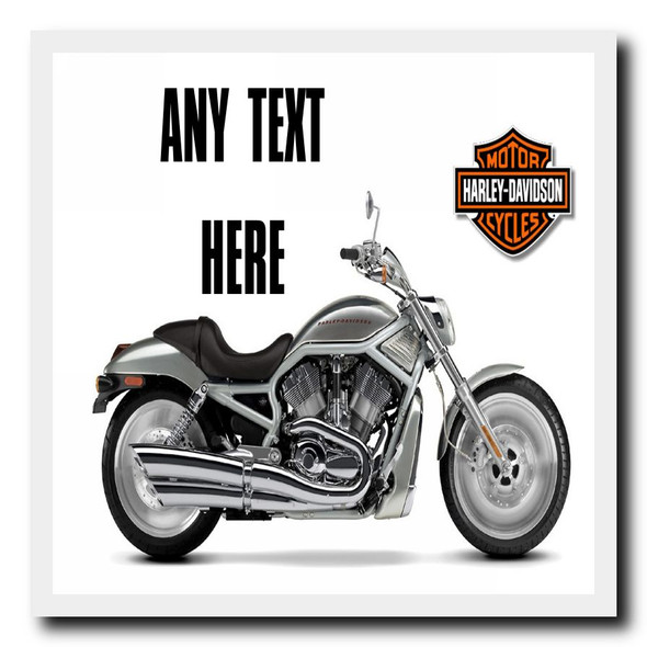 Harley Davidson Motorbike Personalised Drinks Mat Coaster