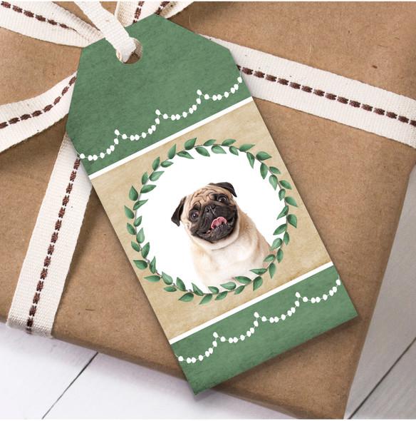 Pug Dog Green Birthday Present Favor Gift Tags