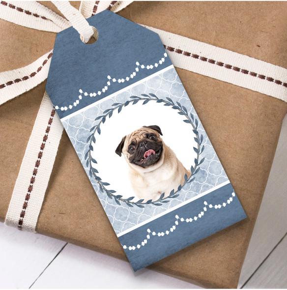 Pug Dog Blue Birthday Present Favor Gift Tags