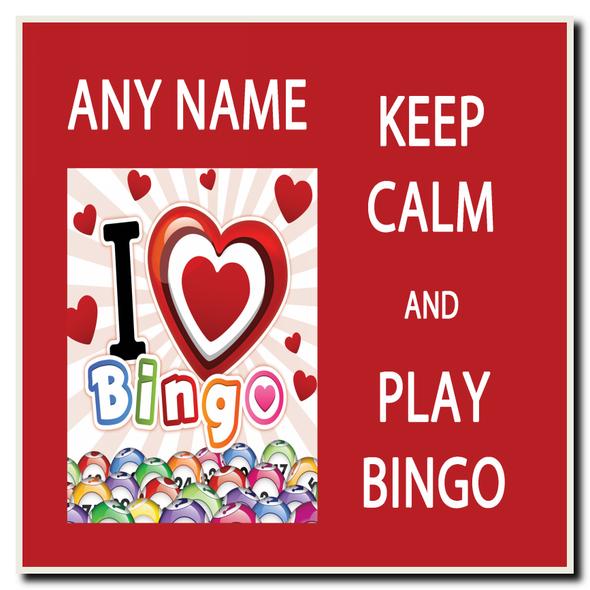 Keep Calm And Love Play Bingo Personalised Drinks Mat Coaster