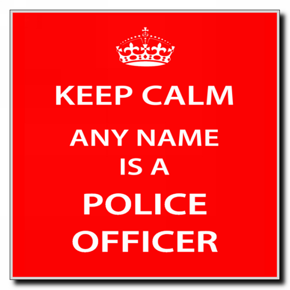 Police Officer Personalised Keep Calm Coaster