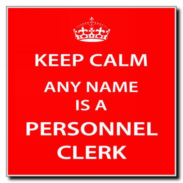 Personnel Clerk Personalised Keep Calm Coaster