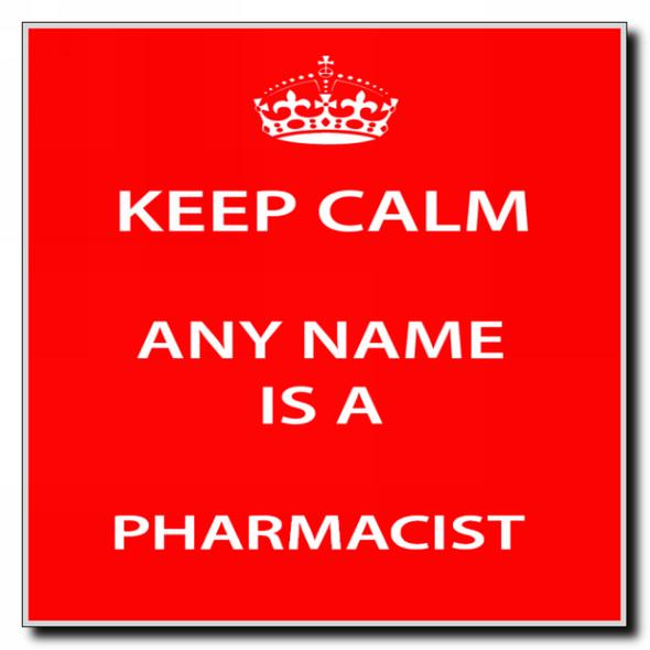 Pharmacist Personalised Keep Calm Coaster