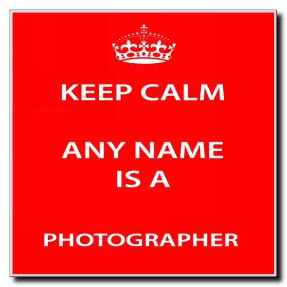 Photographer Personalised Keep Calm Coaster