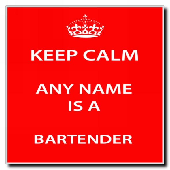 Bartender Personalised Keep Calm Coaster