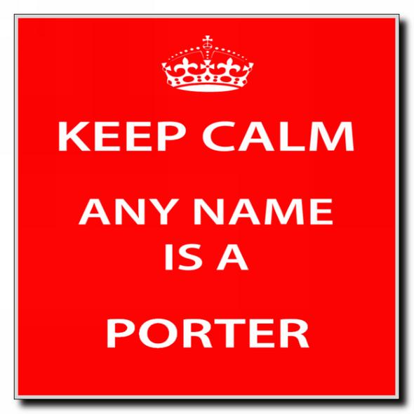 Porter Personalised Keep Calm Coaster