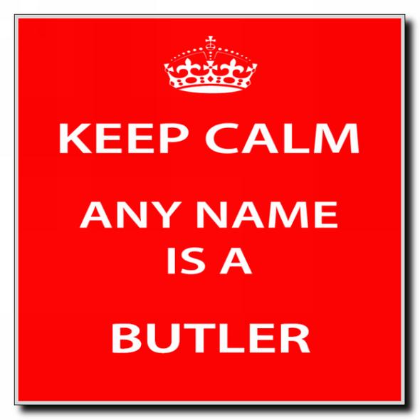 Butler Personalised Keep Calm Coaster