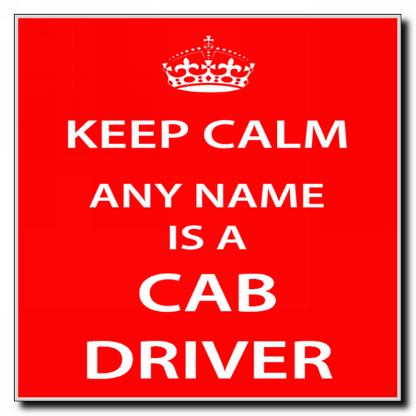 Cab Driver Personalised Keep Calm Coaster