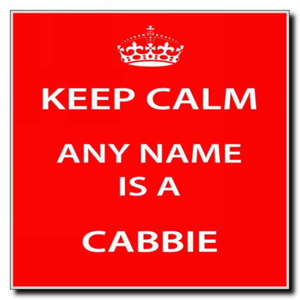 Cabbie Personalised Keep Calm Coaster