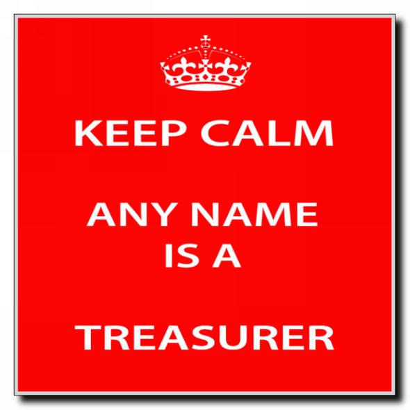 Treasurer Personalised Keep Calm Coaster