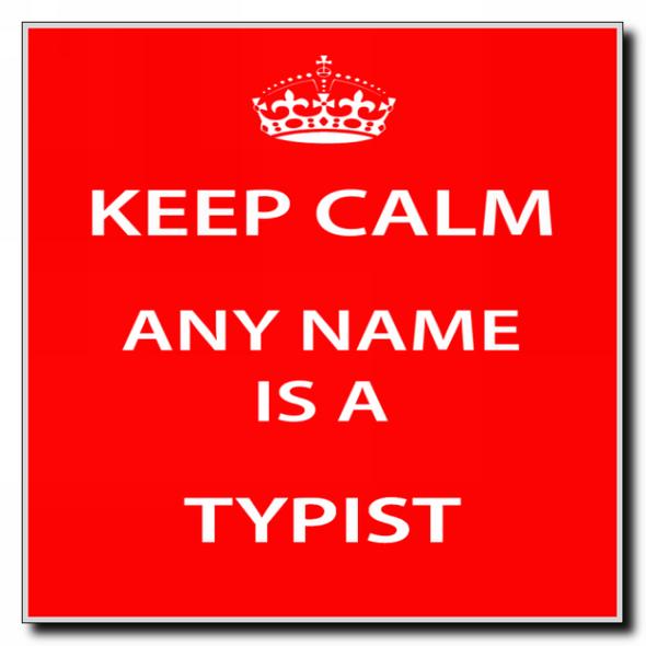 Typist Personalised Keep Calm Coaster