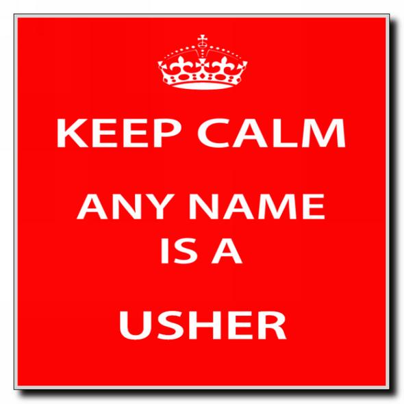 Usher Personalised Keep Calm Coaster