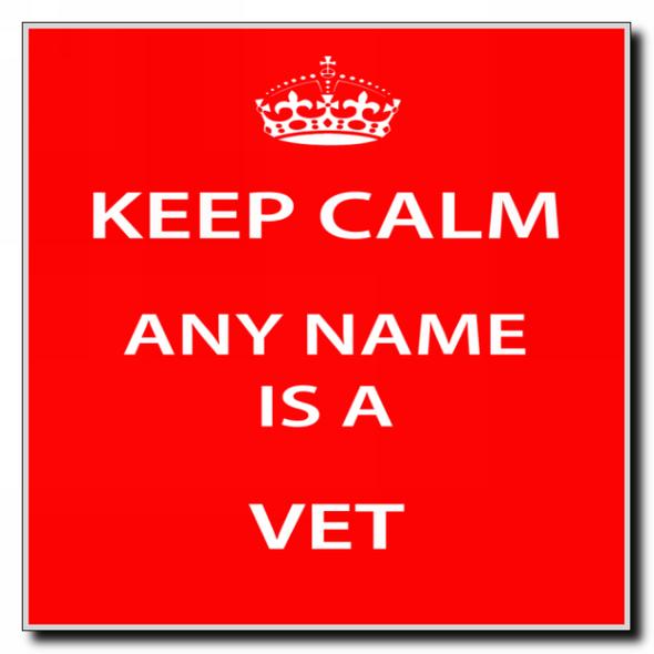 Vet Personalised Keep Calm Coaster