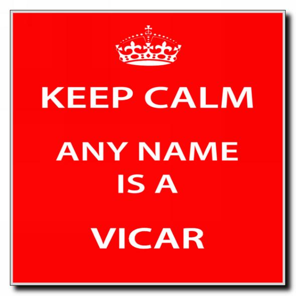 Vicar Personalised Keep Calm Coaster