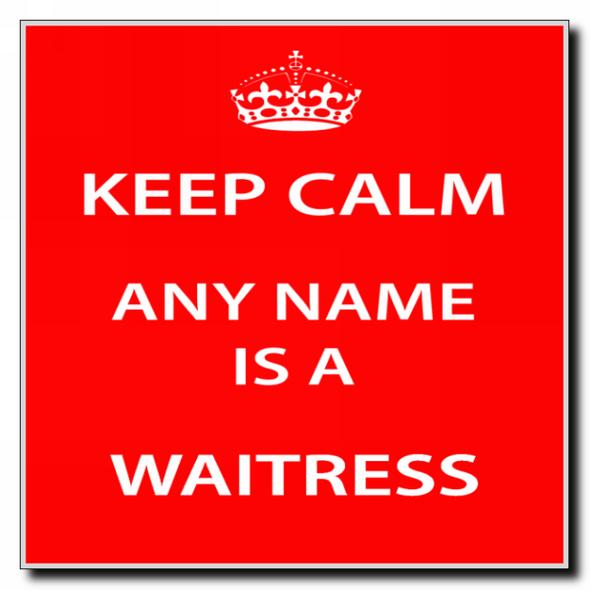 Waitress Personalised Keep Calm Coaster