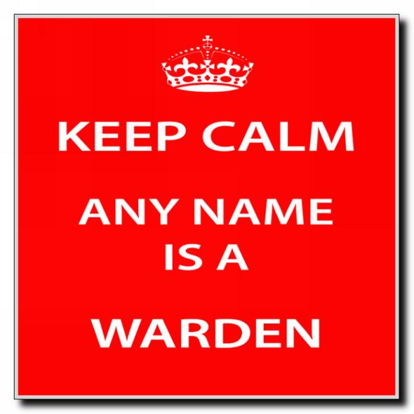 Warden Personalised Keep Calm Coaster
