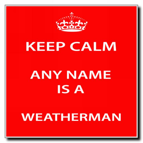 Weatherman Personalised Keep Calm Coaster