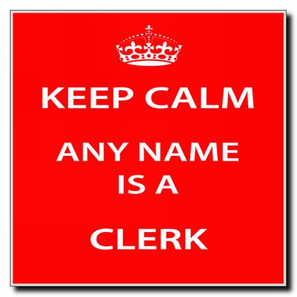 Clerk Personalised Keep Calm Coaster