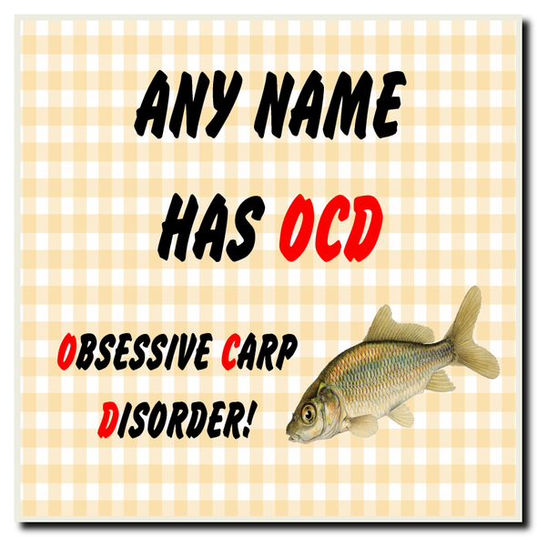 Funny Obsessive Disorder Carp Fishing Fan Yellow Personalised Drinks Mat Coaster