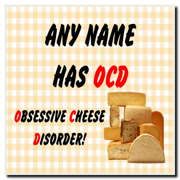 Funny Obsessive Disorder Cheese Yellow Personalised Drinks Mat Coaster