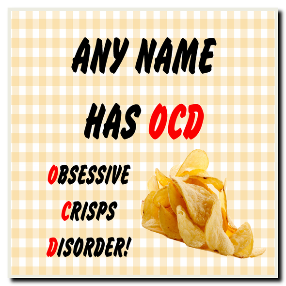 Funny Obsessive Disorder Crisps Yellow Personalised Drinks Mat Coaster