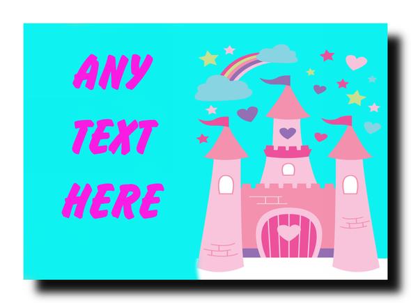 Pink Princess Castle Personalised Jumbo Magnet