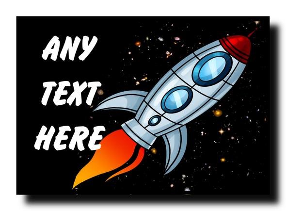 Rocket Space Personalised Jumbo Magnet