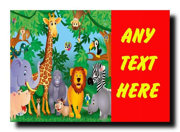 Jungle Animals Personalised Jumbo Magnet