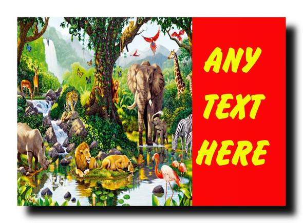 Animal Jungle Red Personalised Jumbo Magnet