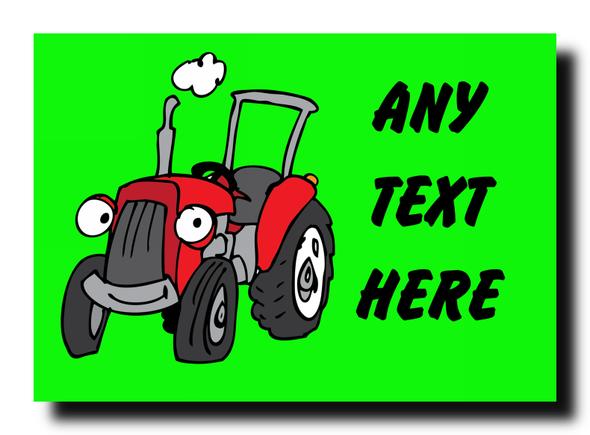 Green Tractor Personalised Jumbo Magnet