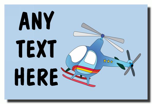 Blue Helicopter Personalised Jumbo Fridge Magnet