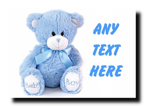Blue Teddy Personalised Jumbo Magnet