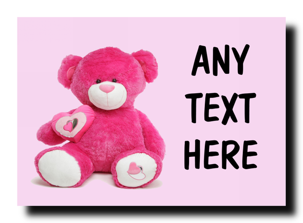Pink Bear Personalised Jumbo Magnet