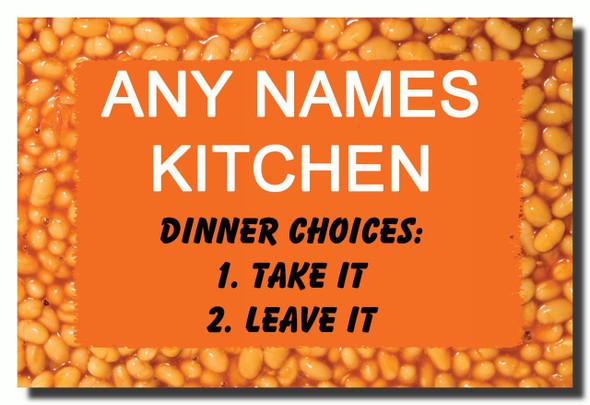 Funny Baked Beans Kitchen Personalised Jumbo Fridge Magnet